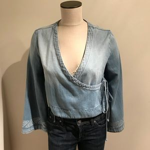 NWOT Anthropologie Stone & Cloth Denim Wrap Top XS